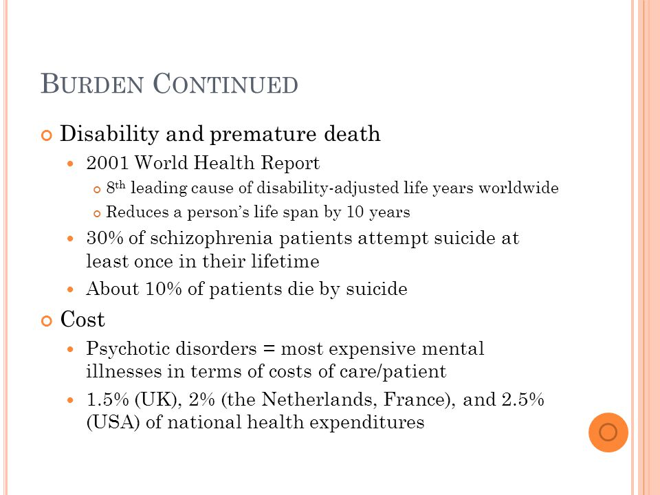 B URDEN C ONTINUED Disability and premature death 2001 World Health Report 8 th leading cause of disability-adjusted life years worldwide Reduces a person's life span by 10 years 30% of schizophrenia patients attempt suicide at least once in their lifetime About 10% of patients die by suicide Cost Psychotic disorders = most expensive mental illnesses in terms of costs of care/patient 1.5% (UK), 2% (the Netherlands, France), and 2.5% (USA) of national health expenditures