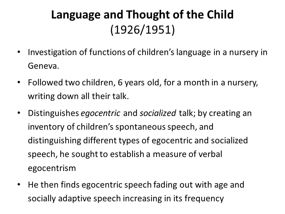 Language and Thought of the Child (1926/1951) Investigation of functions of children's language in a nursery in Geneva.