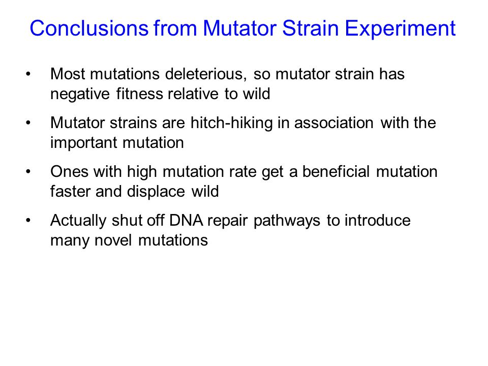  Recent studies by Rosenberg and Foster suggest that alteration of the pathway is essential for this result  Starvation is mutagenic  May have a short term advantage coping with environmental stress but over the long term they will be at a selective disadvantage.