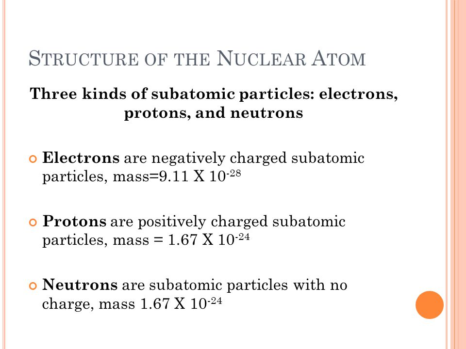 S TRUCTURE OF THE N UCLEAR A TOM Three kinds of subatomic particles: electrons, protons, and neutrons Electrons are negatively charged subatomic parti