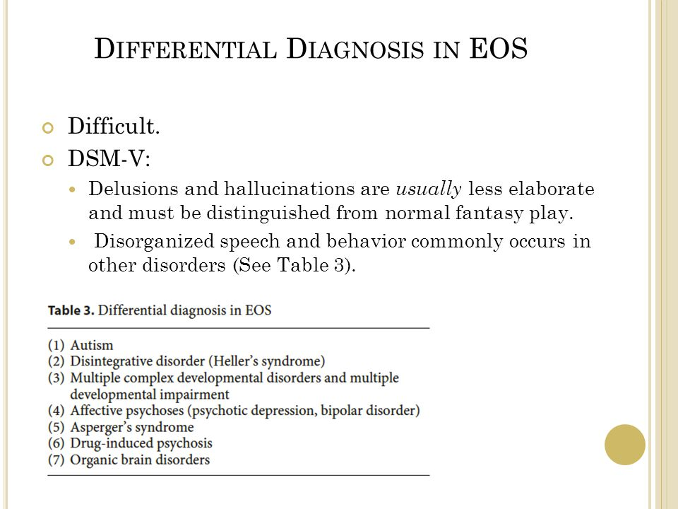 D IFFERENTIAL D IAGNOSIS IN EOS Difficult.