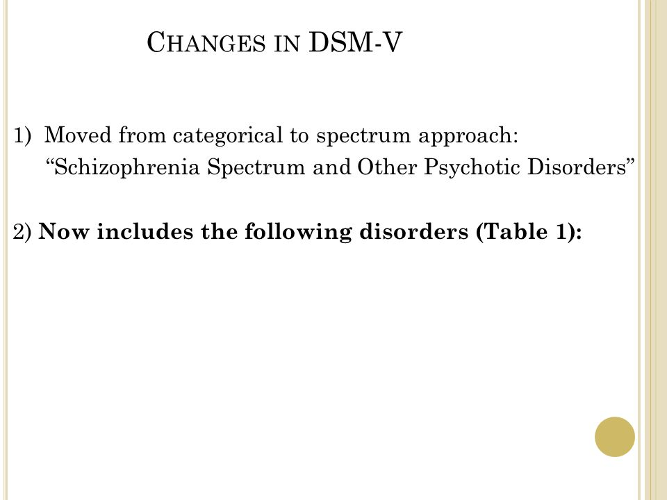 C HANGES IN DSM-V 1) Moved from categorical to spectrum approach: Schizophrenia Spectrum and Other Psychotic Disorders 2) Now includes the following disorders (Table 1):