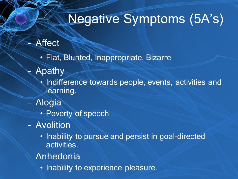 Negative Symptoms (5A's) –Affect Flat, Blunted, Inappropriate, Bizarre –Apathy Indifference towards people, events, activities and learning. –Alogia P