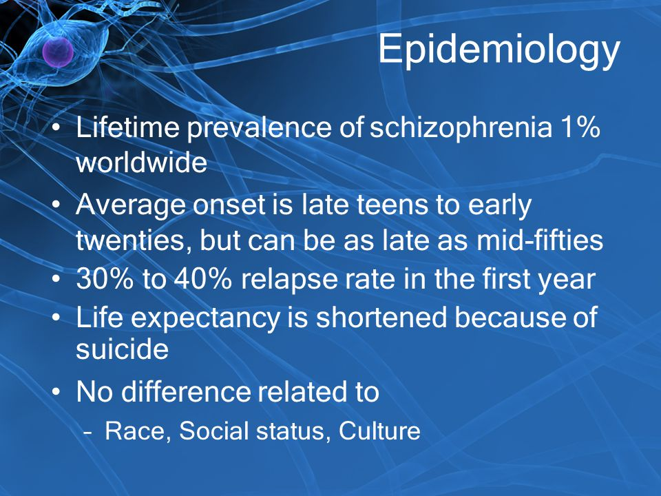 Epidemiology Lifetime prevalence of schizophrenia 1% worldwide Average onset is late teens to early twenties, but can be as late as mid-fifties 30% to