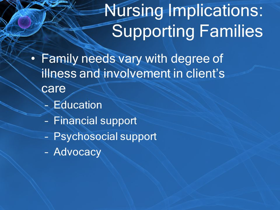 Nursing Implications: Supporting Families Family needs vary with degree of illness and involvement in client's care –Education –Financial support –Psy