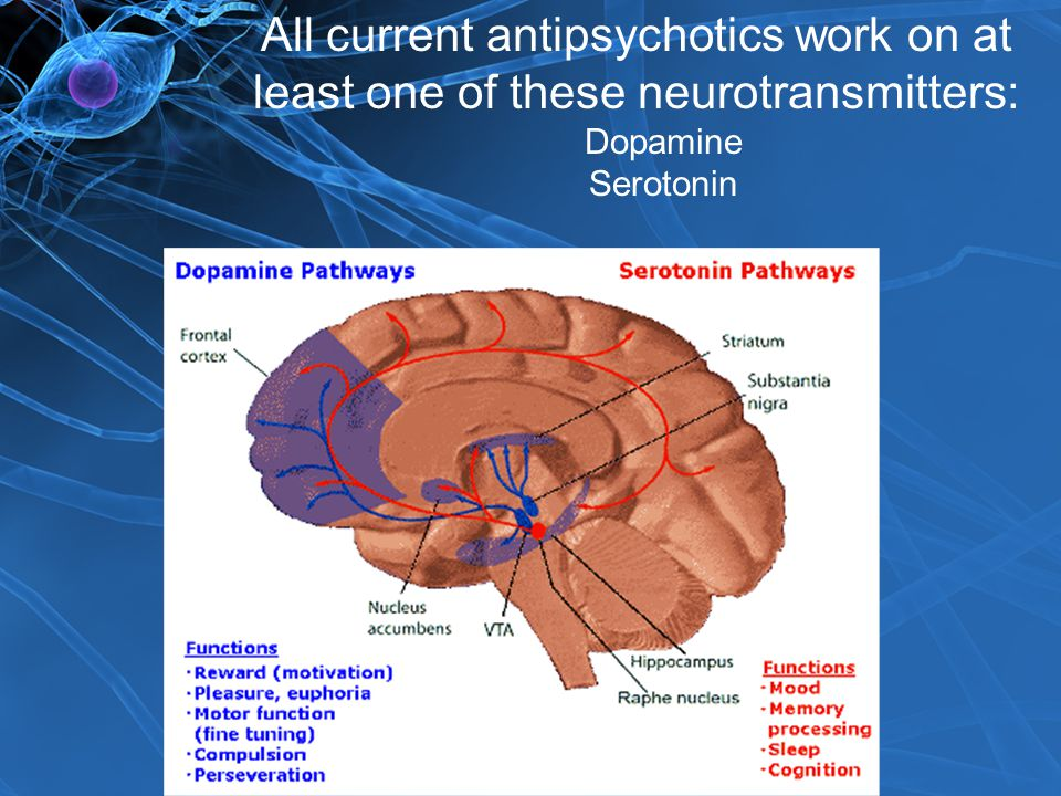 All current antipsychotics work on at least one of these neurotransmitters: Dopamine Serotonin