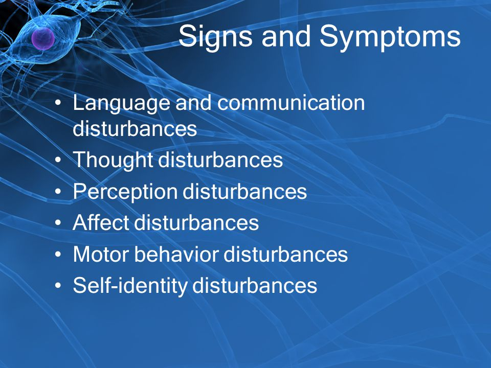 Signs and Symptoms Language and communication disturbances Thought disturbances Perception disturbances Affect disturbances Motor behavior disturbance
