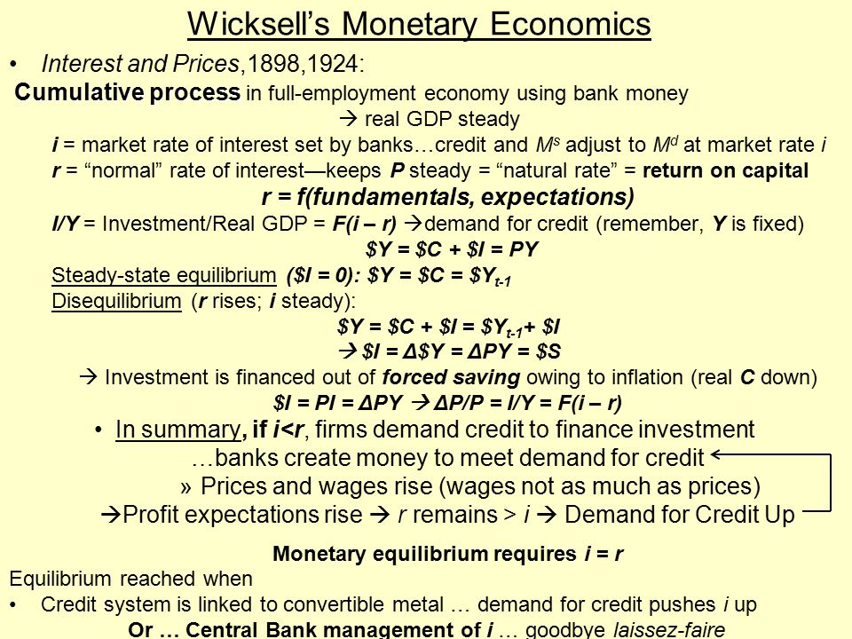 Wicksell's Monetary Economics Interest and Prices,1898,1924: Cumulative process Cumulative process in full-employment economy using bank money  real