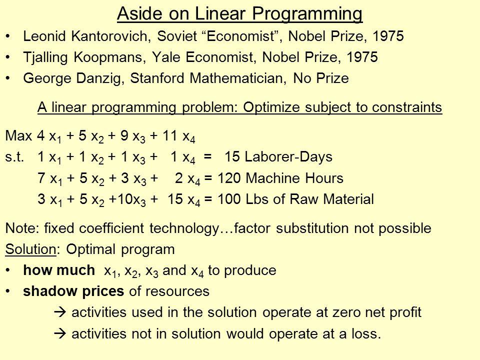 Aside on Linear Programming Leonid Kantorovich, Soviet Economist , Nobel Prize, 1975 Tjalling Koopmans, Yale Economist, Nobel Prize, 1975 George Danzig, Stanford Mathematician, No Prize A linear programming problem: Optimize subject to constraints Max 4 x 1 + 5 x 2 + 9 x 3 + 11 x 4 s.t.