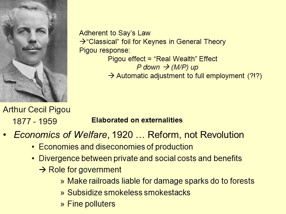Arthur Cecil Pigou 1877 - 1959 Economics of Welfare, 1920 … Reform, not Revolution Economies and diseconomies of production Divergence between private and social costs and benefits  Role for government »Make railroads liable for damage sparks do to forests »Subsidize smokeless smokestacks »Fine polluters Adherent to Say's Law  Classical foil for Keynes in General Theory Pigou response: Pigou effect = Real Wealth Effect P down  (M/P) up  Automatic adjustment to full employment (?!?) Elaborated on externalities