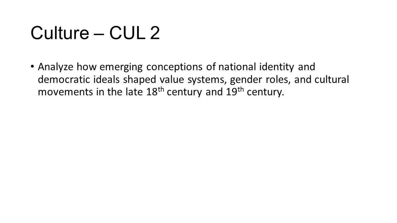Culture – CUL 3 http://www.crsd.org/cms/lib5/PA01000188/Centricity/Domain/366/AP%20US%20REVIEW% 20PACKET.pdf – Pages 4 through 20 on authors and art http://www.crsd.org/cms/lib5/PA01000188/Centricity/Domain/366/AP%20US%20REVIEW% 20PACKET.pdf Explain how cultural values and artistic expression changed in response to the Civil War and the postwar industrialization of the U.S.
