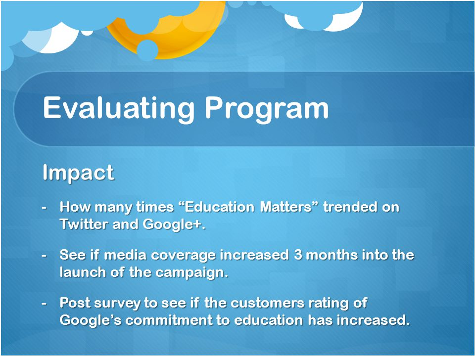 Evaluating Program Impact -How many times Education Matters trended on Twitter and Google+.