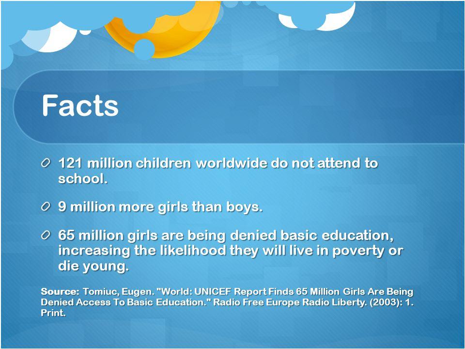 Facts 121 million children worldwide do not attend to school.