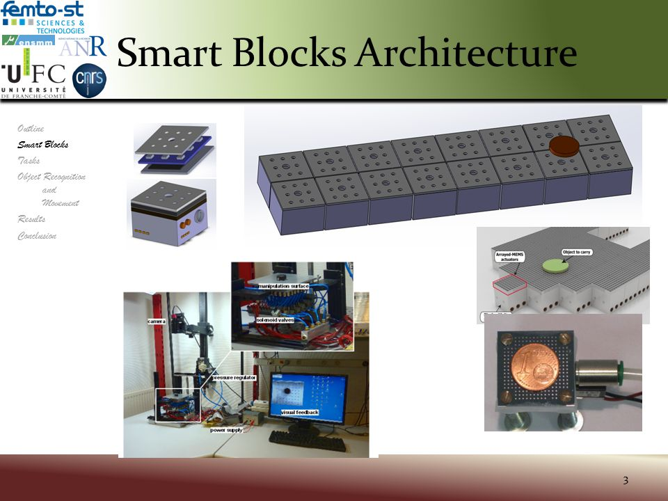 Different Tasks 4 Outline Smart Blocks Tasks Object Recognition and Movement Results Conclusion Real-Time Mechanics Power Network Modular Self-Reconf Control Fault- Tolerance