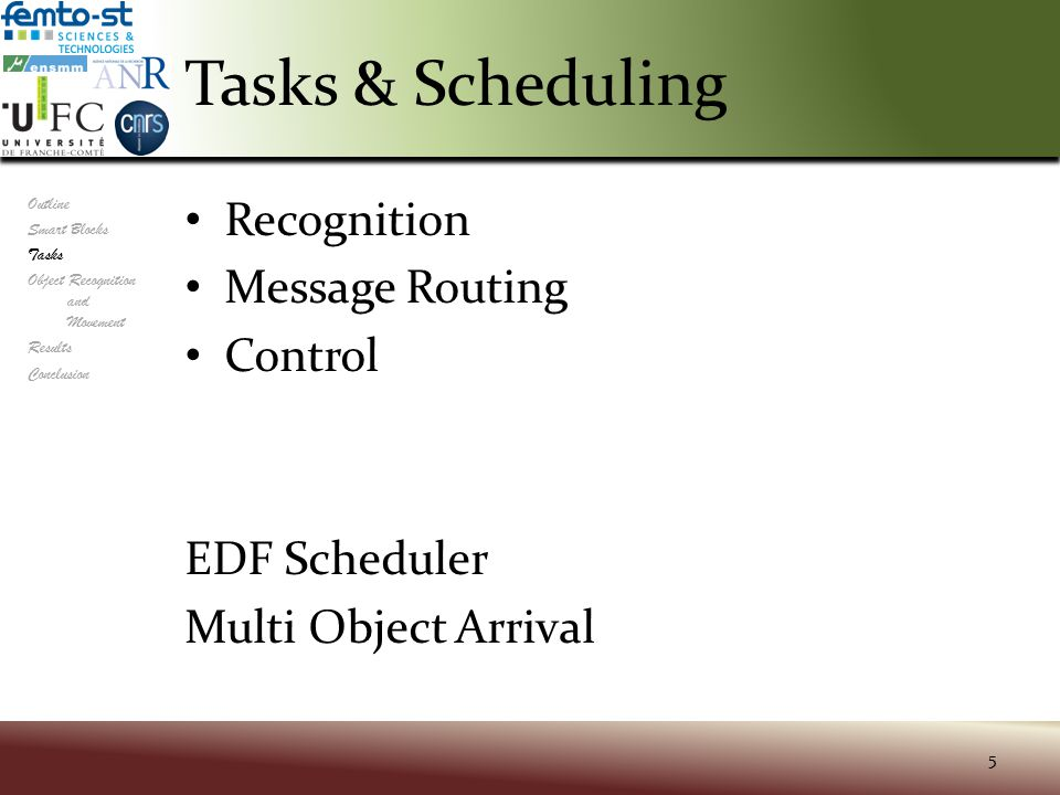 Tasks & Scheduling Recognition Message Routing Control EDF Scheduler Multi Object Arrival 5 Outline Smart Blocks Tasks Object Recognition and Movement Results Conclusion