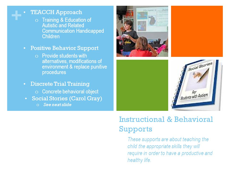 + Instructional & Behavioral Supports TEACCH Approach o Training & Education of Autistic and Related Communication Handicapped Children Positive Behavior Support o Provide students with alternatives, modifications of environment & replace punitive procedures Discrete Trial Training o Concrete behavioral object Social Stories (Carol Gray) o See next slide These supports are about teaching the child the appropriate skills they will require in order to have a productive and healthy life.
