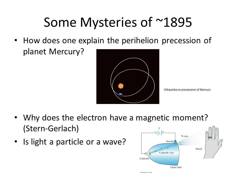 Some Mysteries of ~1895 How does one explain the perihelion precession of planet Mercury.