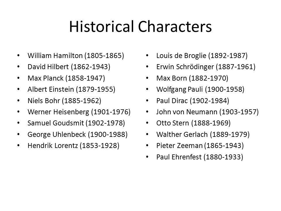 Historical Characters William Hamilton (1805-1865) David Hilbert (1862-1943) Max Planck (1858-1947) Albert Einstein (1879-1955) Niels Bohr (1885-1962) Werner Heisenberg (1901-1976) Samuel Goudsmit (1902-1978) George Uhlenbeck (1900-1988) Hendrik Lorentz (1853-1928) Louis de Broglie (1892-1987) Erwin Schrödinger (1887-1961) Max Born (1882-1970) Wolfgang Pauli (1900-1958) Paul Dirac (1902-1984) John von Neumann (1903-1957) Otto Stern (1888-1969) Walther Gerlach (1889-1979) Pieter Zeeman (1865-1943) Paul Ehrenfest (1880-1933)