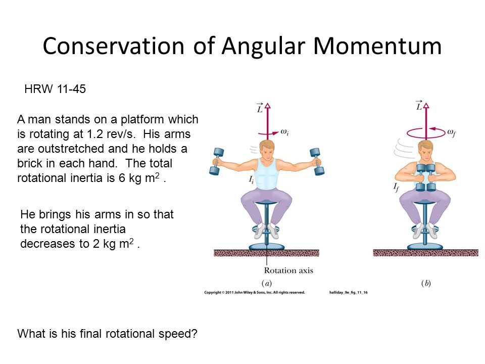 Conservation of Angular Momentum HRW 11-45 A man stands on a platform which is rotating at 1.2 rev/s.