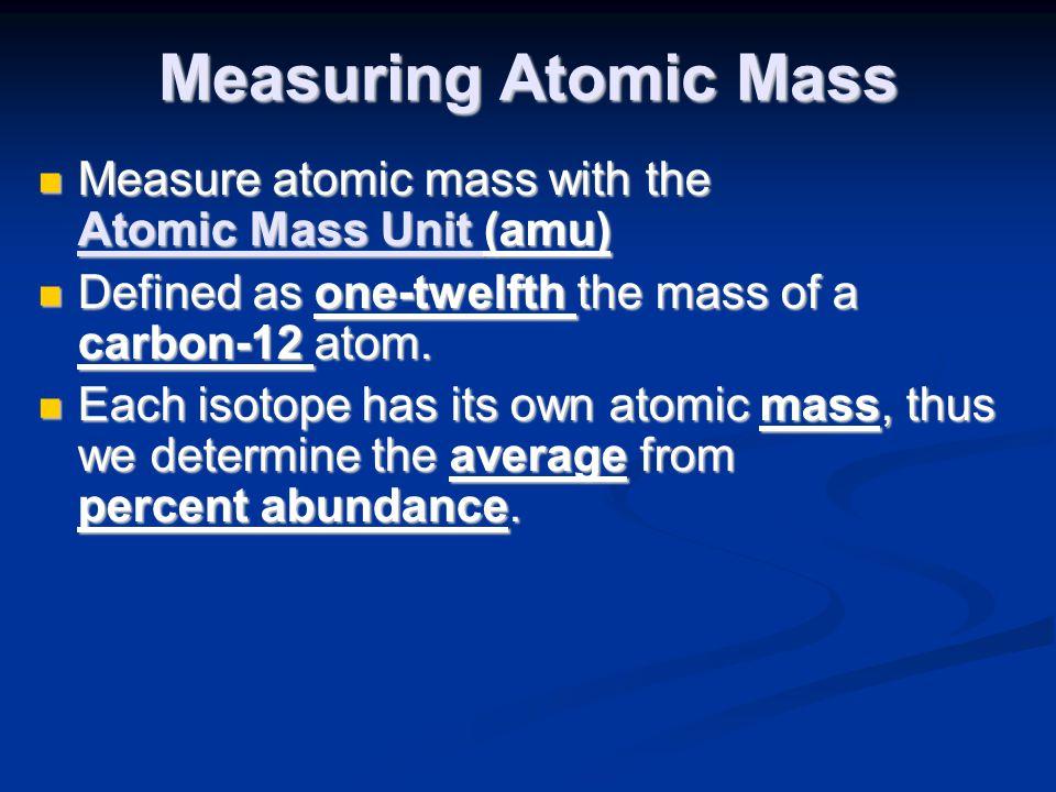 Measuring Atomic Mass Measure atomic mass with the Atomic Mass Unit (amu) Measure atomic mass with the Atomic Mass Unit (amu) Defined as one-twelfth t