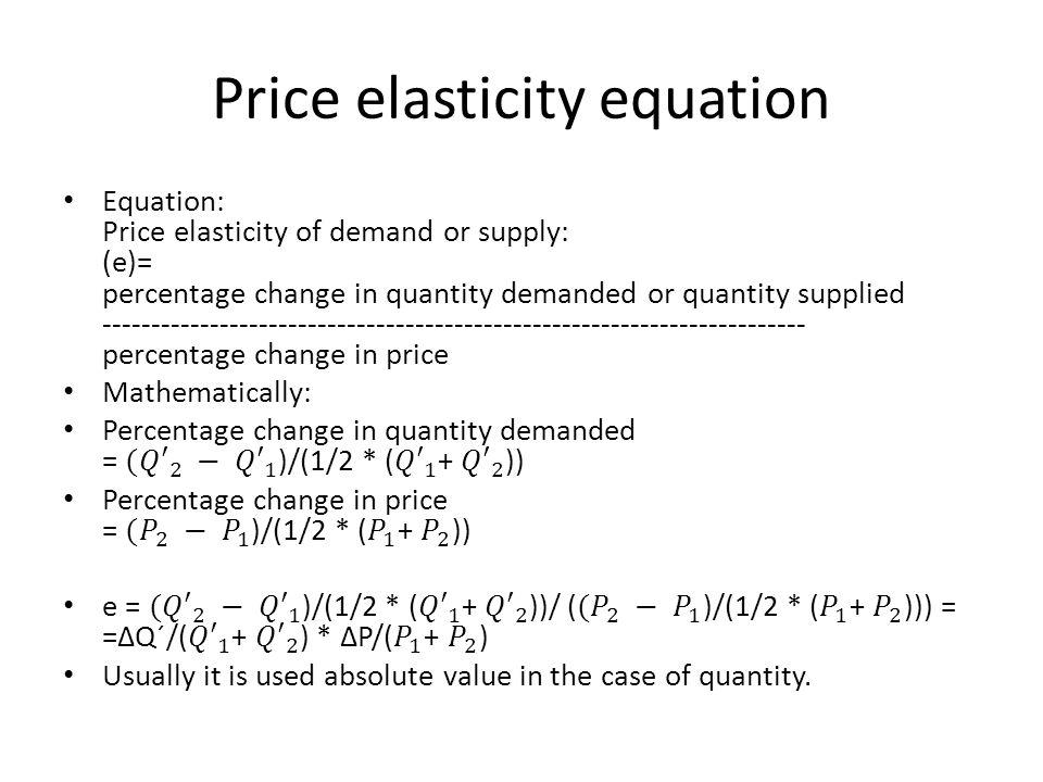 Price elasticity equation