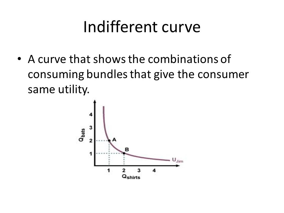 Indifferent curve A curve that shows the combinations of consuming bundles that give the consumer same utility.