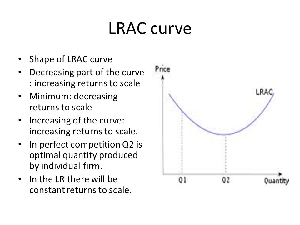 LRAC curve Shape of LRAC curve Decreasing part of the curve : increasing returns to scale Minimum: decreasing returns to scale Increasing of the curve
