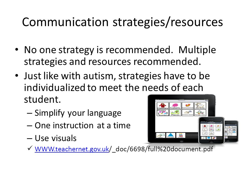 Communication strategies/resources No one strategy is recommended.