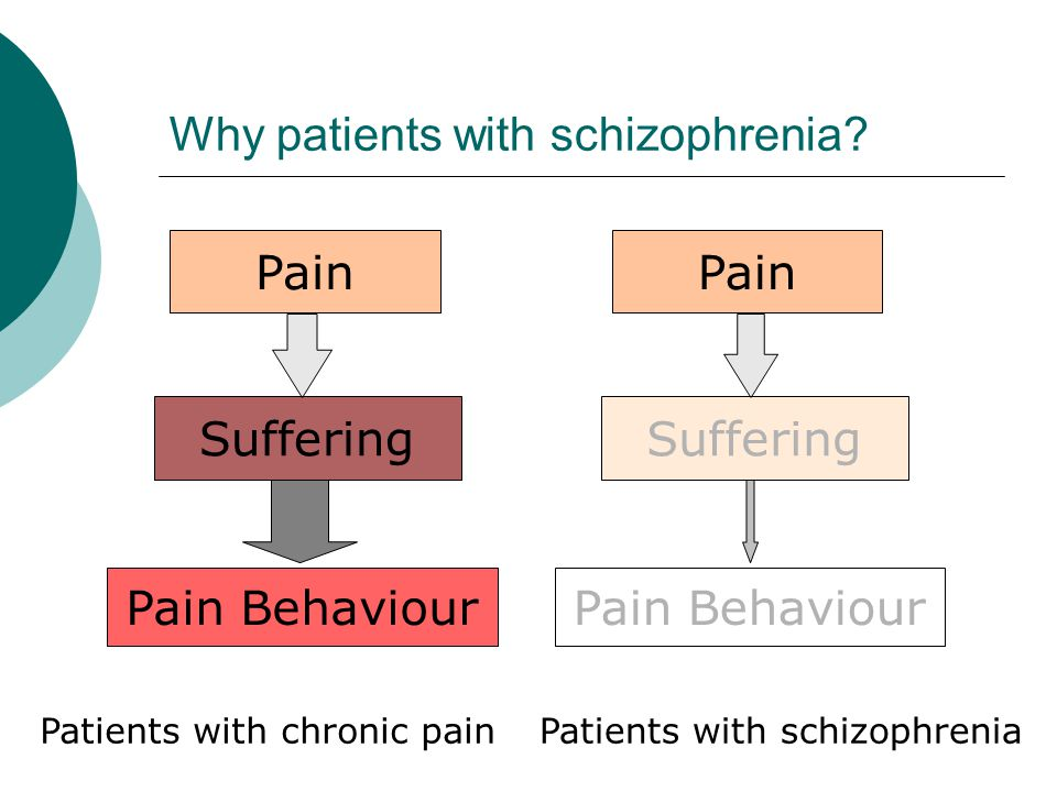 Degree of pain suffering Strong Weak Schizophrenia Normal Chronic pain Schizophrenia is a human model considered to be the opposite of that with chronic pain.