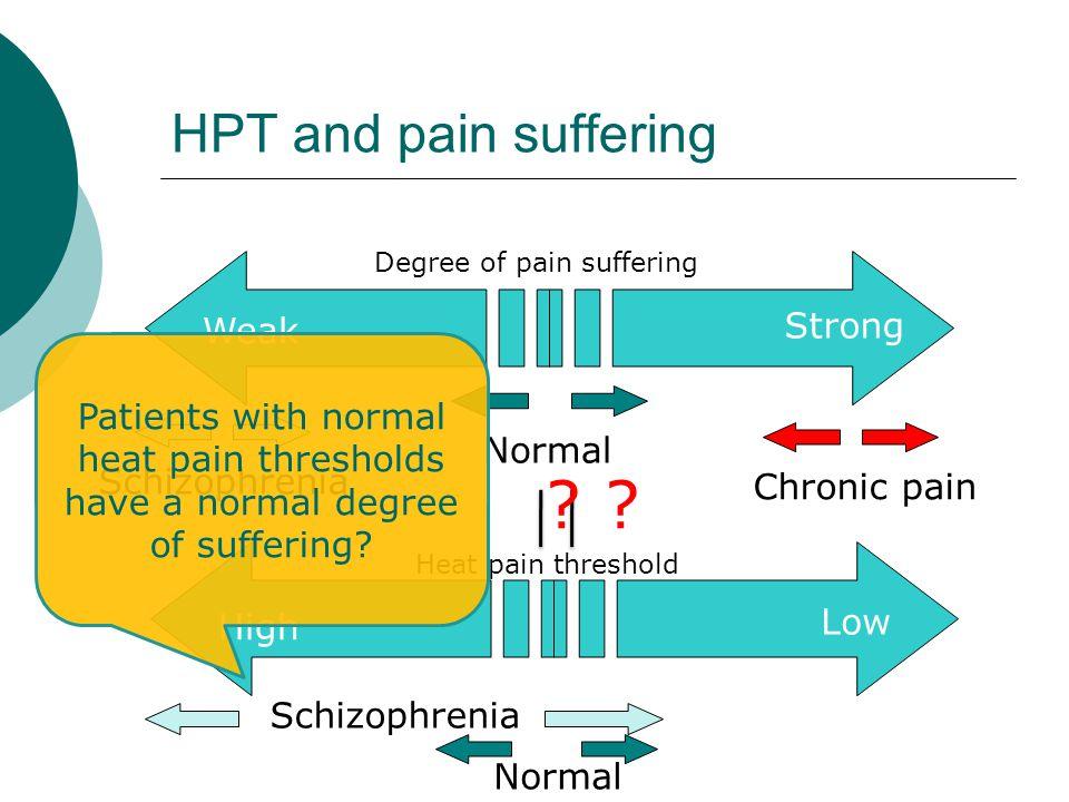 Schizophrenia Normal HPT and pain suffering Strong Weak Schizophrenia Normal Chronic pain Degree of pain suffering Heat pain threshold High Low Patients with normal heat pain thresholds have a normal degree of suffering.