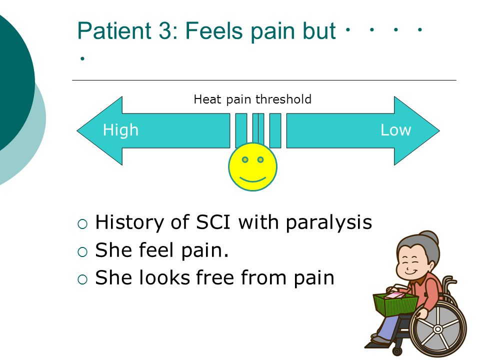 Patient 3: Feels pain but ・・・・ ・  History of SCI with paralysis  She feel pain.