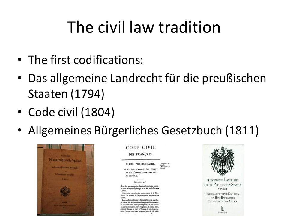 The civil law tradition The first codifications: Das allgemeine Landrecht für die preußischen Staaten (1794) Code civil (1804) Allgemeines Bürgerliches Gesetzbuch (1811)
