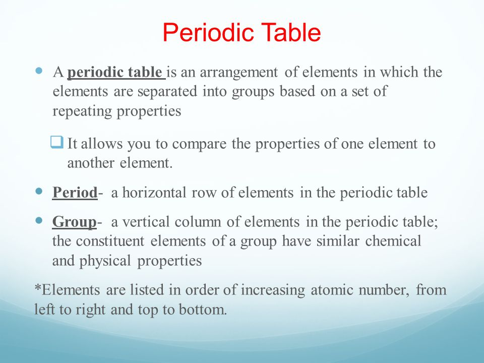 Periodic Table-A Preview