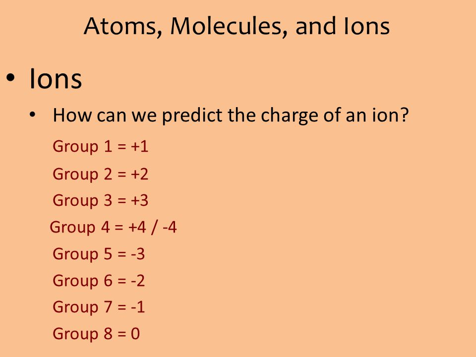 Atoms, Molecules, and Ions Ions How can we predict the charge of an ion? Group 1 = +1 Group 2 = +2 Group 3 = +3 Group 4 = +4 / -4 Group 5 = -3 Group 6