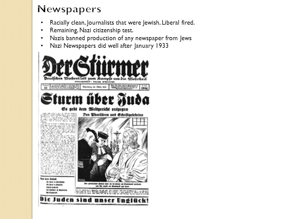 Racially clean, Journalists that were Jewish, Liberal fired. Remaining, Nazi citizenship test. Nazis banned production of any newspaper from Jews Nazi