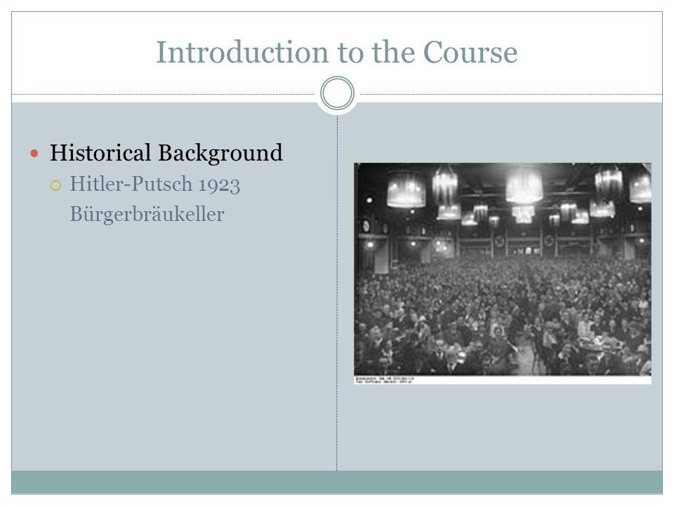 Introduction to the Course Historical Background  Hitler-Putsch 1923 Bürgerbräukeller