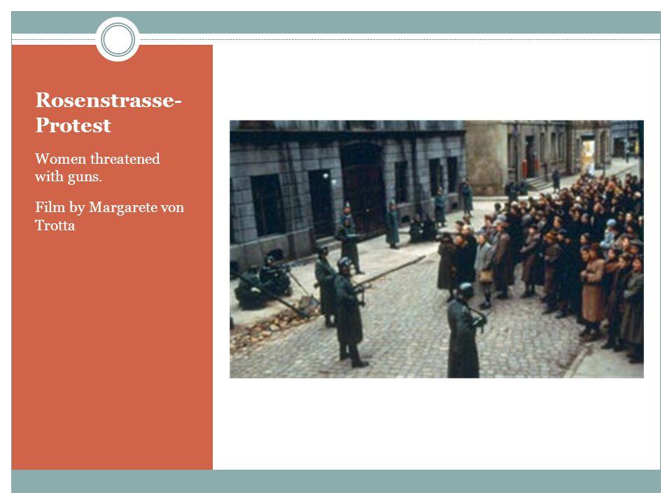 Rosenstrasse- Protest Women threatened with guns. Film by Margarete von Trotta