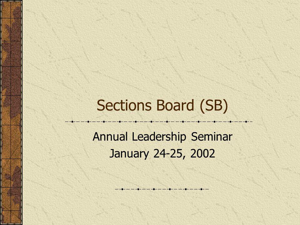 Sections Board (SB) Annual Leadership Seminar January 24-25, 2002
