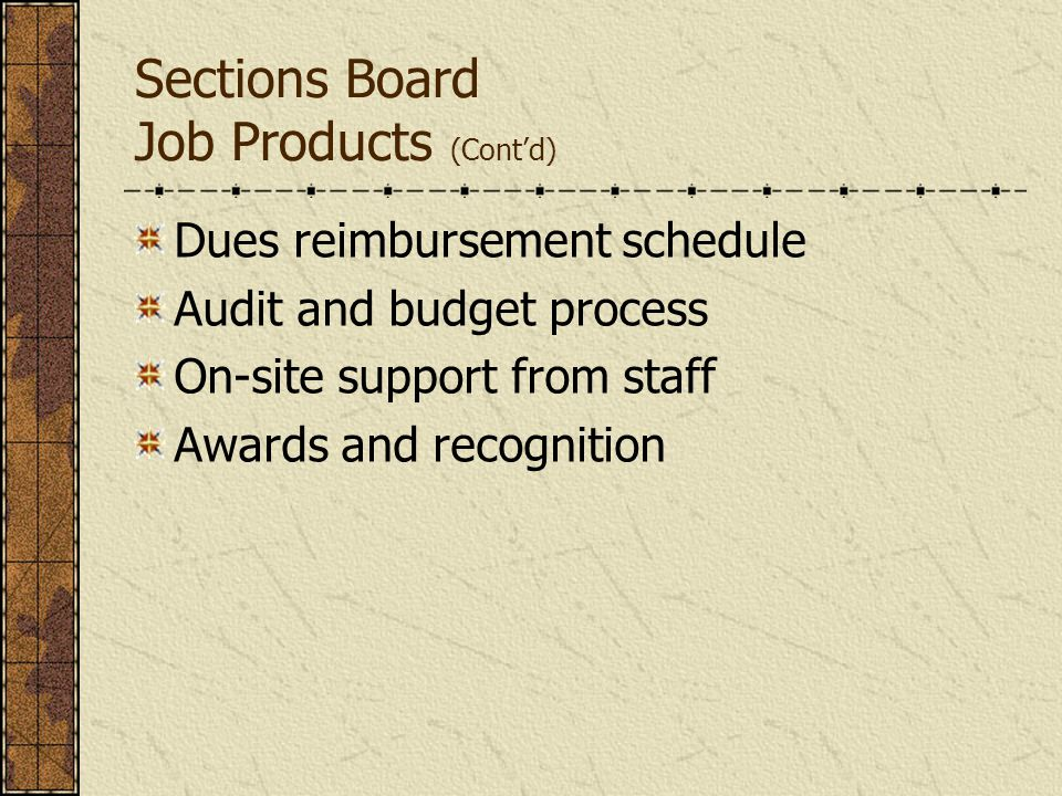 Sections Board Customers External Section Members, Non-Member Guests Section Officers Local Industry Public-at-Large Affiliate Society Leadership and Staff