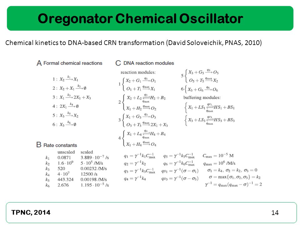 TPNC, 2014 14 Oregonator Chemical Oscillator Chemical kinetics to DNA-based CRN transformation (David Soloveichik, PNAS, 2010)