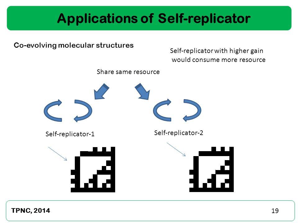 TPNC, 2014 19 Applications of Self-replicator Self-replicator-1 Self-replicator-2 Share same resource Co-evolving molecular structures Self-replicator