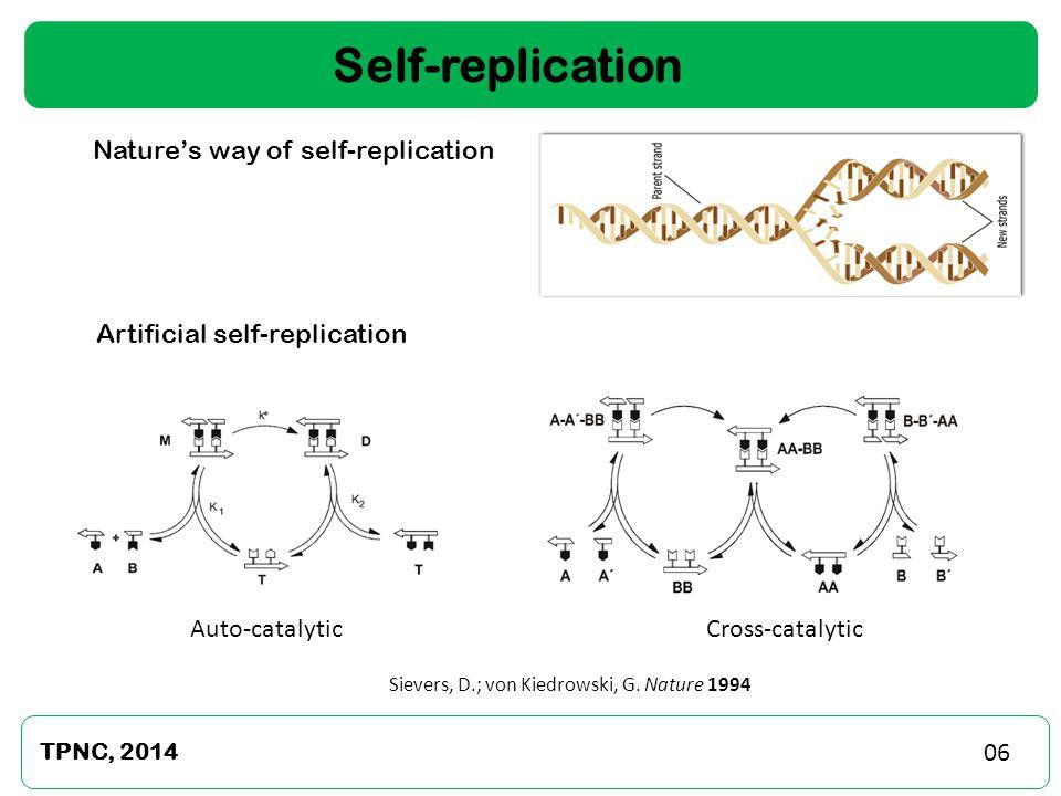 7 TPNC, 2014 Self-replication Nature's way of self-replication Artificial self-replication Sievers, D.; von Kiedrowski, G. Nature 1994 Cross-catalytic