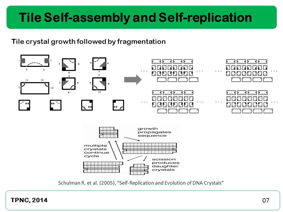 Tile Self-assembly and Self-replication Precise Gain TPNC, 2014 Infinite Gain Abel et al.
