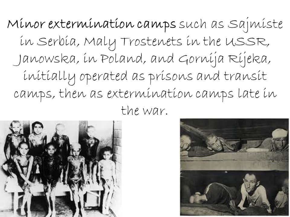 Minor extermination camps such as Sajmiste in Serbia, Maly Trostenets in the USSR, Janowska, in Poland, and Gornija Rijeka, initially operated as prisons and transit camps, then as extermination camps late in the war.