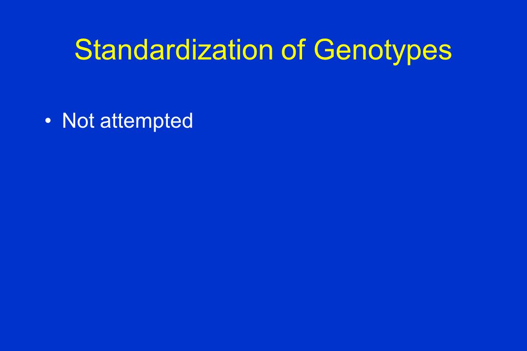 Standardization of Genotypes Not attempted