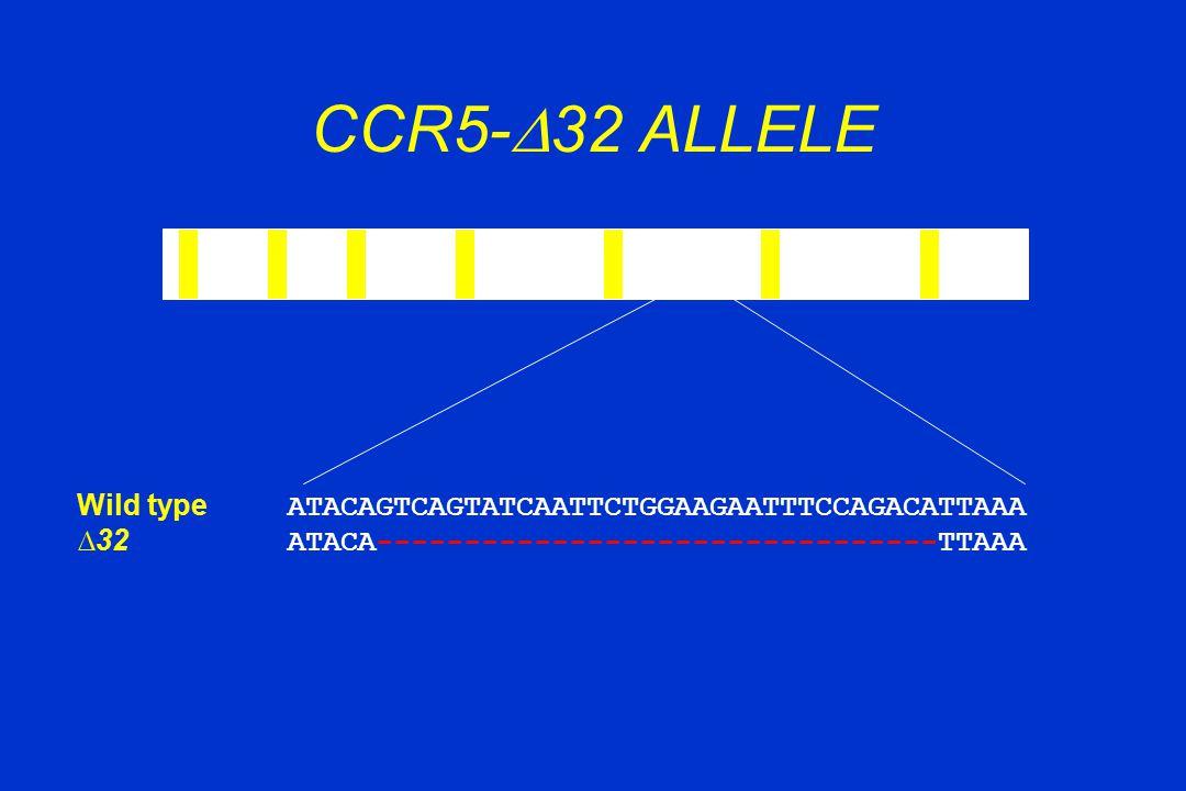 CCR5-  32 ALLELE Wild type ATACAGTCAGTATCAATTCTGGAAGAATTTCCAGACATTAAA ∆32 ATACA--------------------------------TTAAA