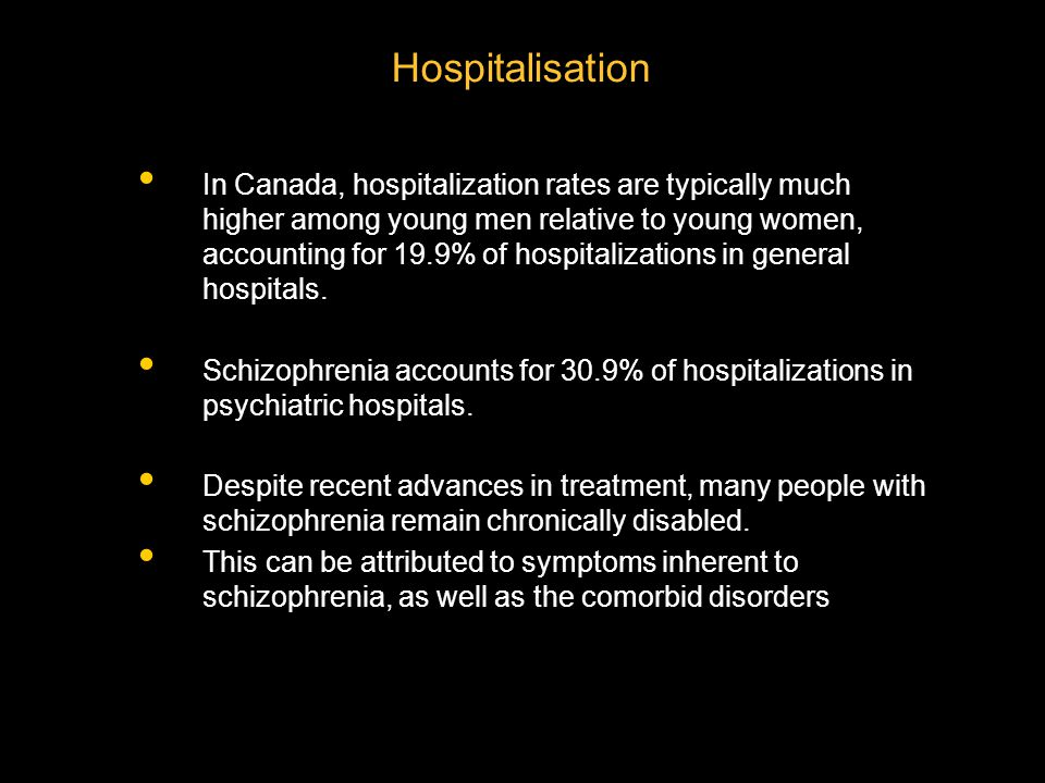 Hospitalisation In Canada, hospitalization rates are typically much higher among young men relative to young women, accounting for 19.9% of hospitalizations in general hospitals.