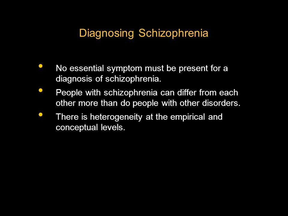 Diagnosing Schizophrenia No essential symptom must be present for a diagnosis of schizophrenia.