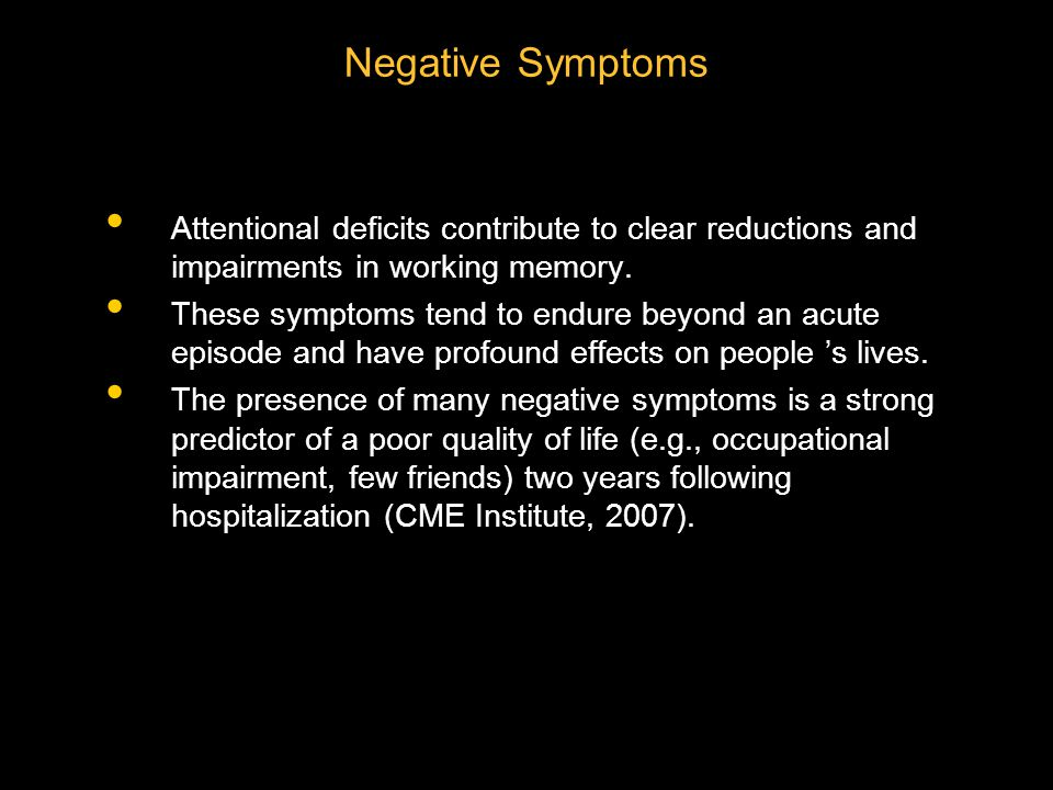 Attentional deficits contribute to clear reductions and impairments in working memory.