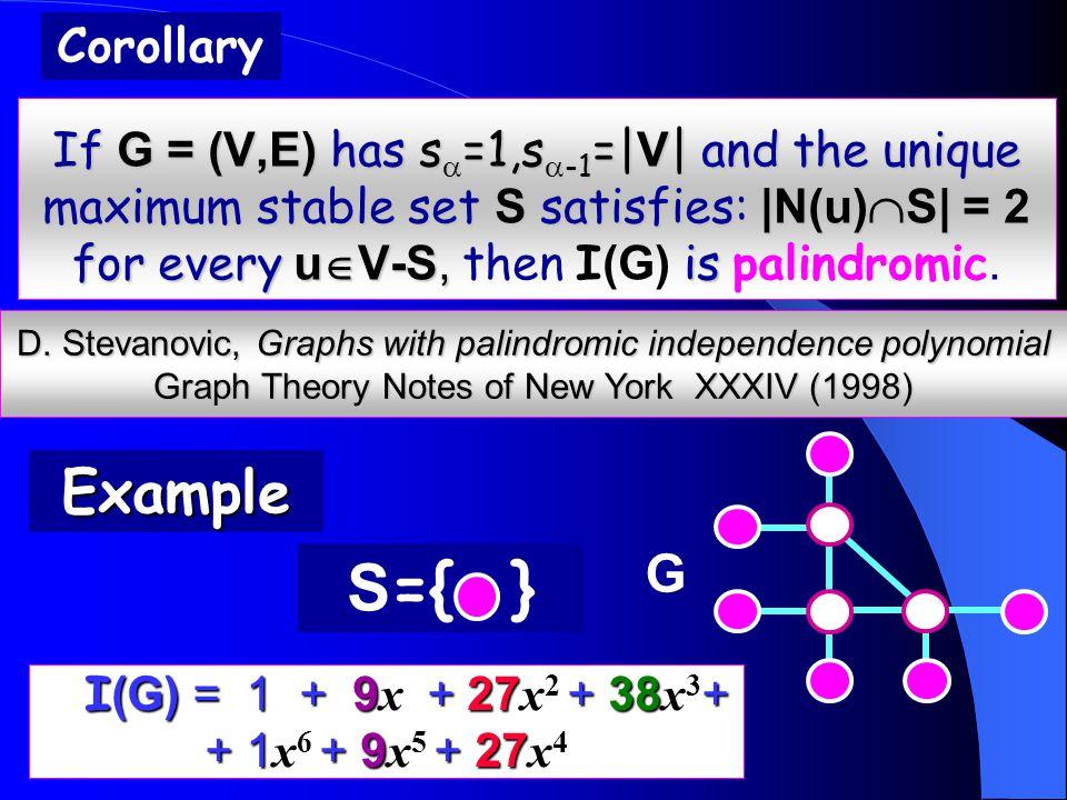 If G = (V,E) has s  =1,s  -1 =| V | and the unique maximum stable set S satisfies: |N(u)  S| = 2 for every u  V-S, is If G = (V,E) has s  =1,s  -1 =| V | and the unique maximum stable set S satisfies: |N(u)  S| = 2 for every u  V-S, then I (G) is palindromic.